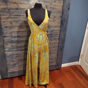 Vintage 70s vibrant Sheer Jumpsuit sleeveless